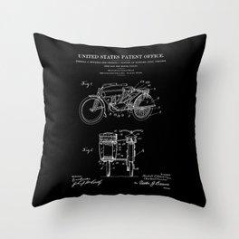 Motorcycle Sidecar Patent 1912 - Black Throw Pillow