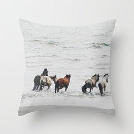 Horses running wild Throw Pillow