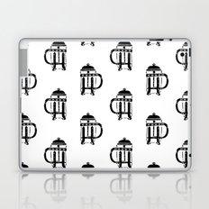 French Press linocut black and white pattern coffee art kitchen pattern art Laptop & iPad Skin