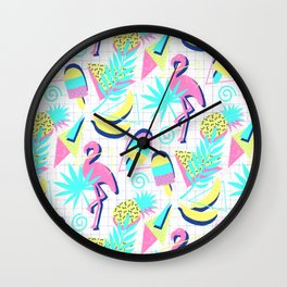 80s Flashback Tropical Fun Wall Clock