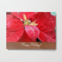 Mottled Red Poinsettia 2 Happy Holidays S1F1 Metal Print