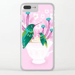 Hummingbirds on Teacup Clear iPhone Case