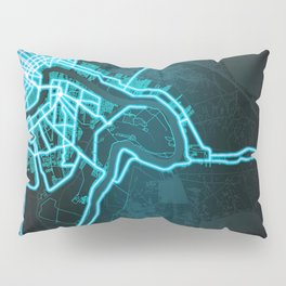 New Orleans, LA, USA, Blue, White, Neon, Glow, City, Map Pillow Sham