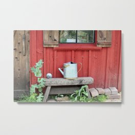 A Little Red Garden Shed Metal Print