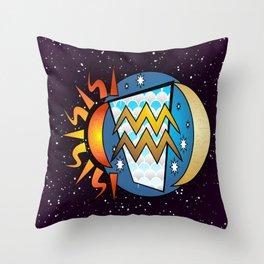 Astrology, Aquarius Throw Pillow