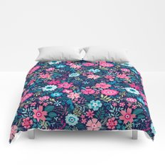 Amazing floral pattern with bright colorful flowerson a dark blue background Comforters
