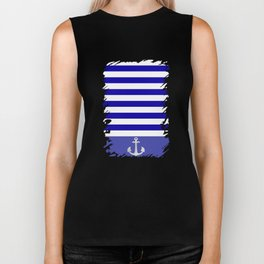 Blue And White Stripes Anchor Biker Tank