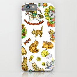 Cute cats and koala on a white background. iPhone Case