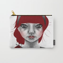 005 Red Hair and a Pretty Grey Bow Carry-All Pouch