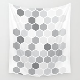 Texture hexagons - Shades of Grey Wall Tapestry