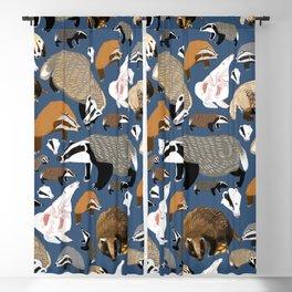 Eurasian badgers pattern Blue Blackout Curtain
