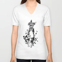 moose V-neck T-shirts featuring MOOSE by TOO MANY GRAPHIX