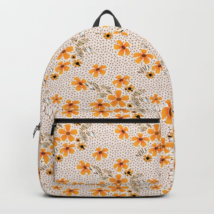 The floral pattern on the grid . Backpack