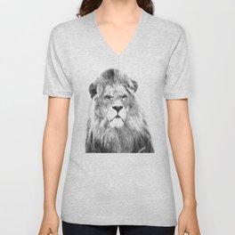 Black and white lion animal portrait Unisex V-Neck