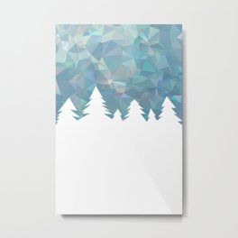 Northern Lights in winter forest in geometrical style Metal Print
