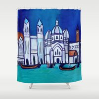 venice Shower Curtains featuring Venice by Theresa Giolzetti