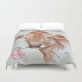 Cow with Rose by Debi Coules Duvet Cover