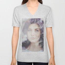 Portrait woman double exposure Unisex V-Neck