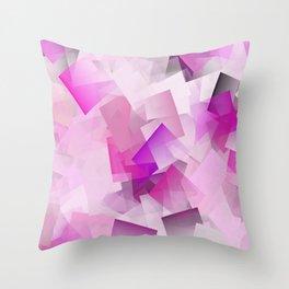 Geometric Stacks Pink Magenta Throw Pillow