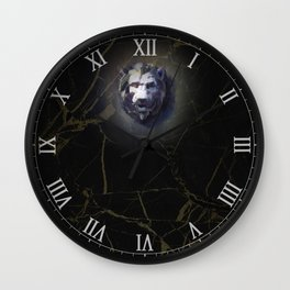 Lion head Black Marble Wall Clock