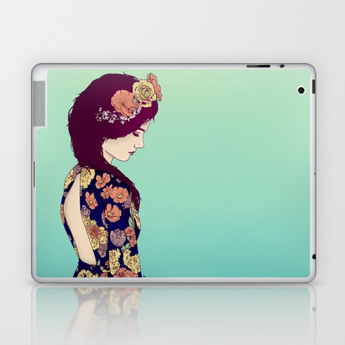 Yellow Garden Lady Laptop & iPad Skin