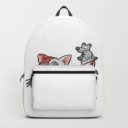RED WHITE CAT AND MOUSE best friends love gift Backpack
