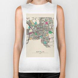 Colorful City Maps: Antalya, Turkey Biker Tank