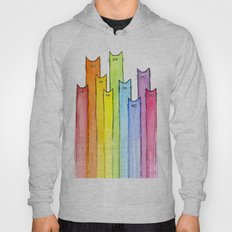 Cat Rainbow Watercolor Whimsical Animals Cats Pattern Hoody