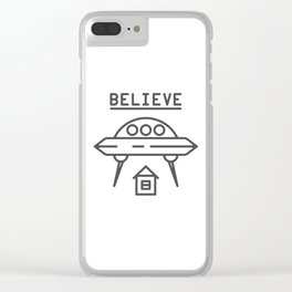 UFO Flying saucer space alien over the house - style Fashion Modern Design Print! Clear iPhone Case