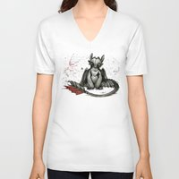 toothless V-neck T-shirts featuring Toothless by artbyteesa