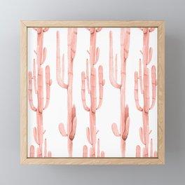 Pretty Coral Pink Cactus Pattern Framed Mini Art Print