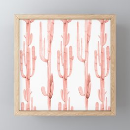 Pretty Coral Pink Cactus Pattern Framed Mini Art Print