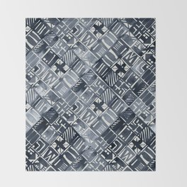 Simply Tribal Tiles in Indigo Blue on Lunar Gray Throw Blanket
