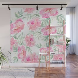 Watercolor Peonie with greenery Wall Mural