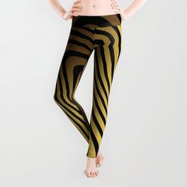 Golden Wave Lines Pattern  Leggings