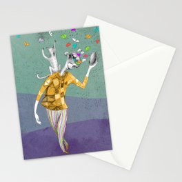 the imaginative robot clown and his cat friend Stationery Cards