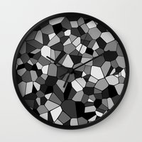 gray pattern Wall Clocks featuring Gray Monochrome Mosaic Pattern by Margit Brack
