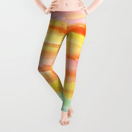 Summer Sunset Abstract Painting Stripes Pattern Modern - Be Yourself And Fall In Love Leggings
