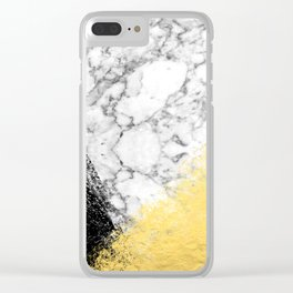 Astra - marble black and gold abstract art minimalist home decor office dorm nursery Clear iPhone Case