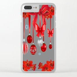 RED CHRISTMAS ORNAMENTS & SNOW FLAKES  ART Clear iPhone Case