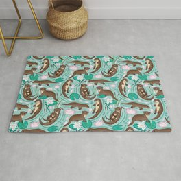 How We Love Each Otter - Mint Background Rug