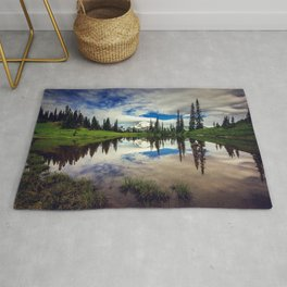 Mountain Reflections Mt Rainier Washington Rug