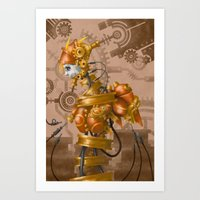 steam punk Art Prints featuring Steam Punk Iron Girl by cyberfrog