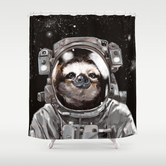 Astronaut Sloth Selfie Shower Curtain by Big Nose Work ...