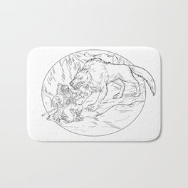 Fenrir Attacking Norse God Odin Drawing Black and White Bath Mat