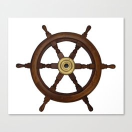 old oak steering wheel for ship or boat Canvas Print