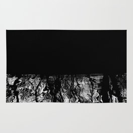 Black and White Tree Branch Silhouette Reflections Rug