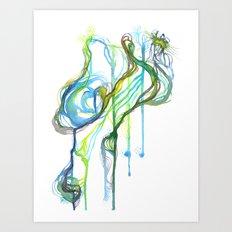 Aqua Trickle Art Print