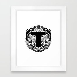 Letter T monogram wildwood Framed Art Print