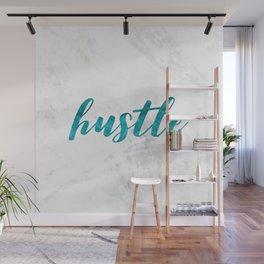 Blue Hustle Text Marble Wall Mural